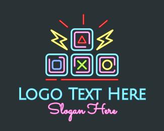 Programmer - Neon Arcade Retro Gaming logo design