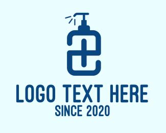 Lotion - Blue Hand Sanitizer Letter E logo design