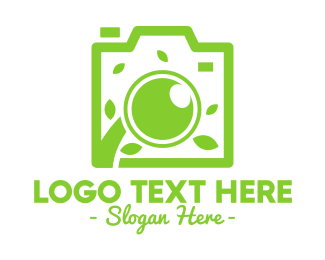 Green Camera - Green Leaf Lens logo design