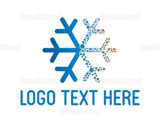 Antarctica - Blue Snowflake logo design