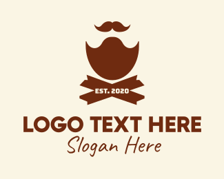 Dude - Mustache Beard Barbershop logo design