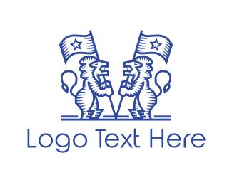 Vintage - Vintage Blue Mascot Lions logo design