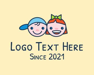 Kids - Cute Happy Kids logo design