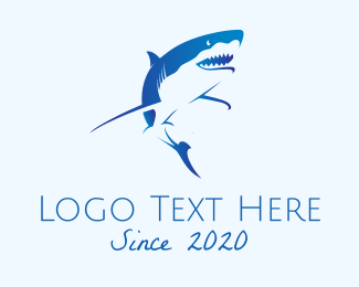 """Blue Wild Shark"" by eightyLOGOS"
