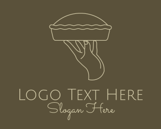 Pie - Minimalist Pie Hand logo design