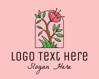 Peony - Wild Peony Flower logo design