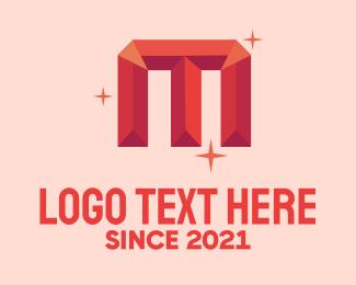 Quartz - Shiny Gem Letter M logo design