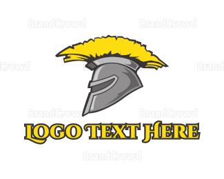 Medieval - Spartan Yellow Helmet logo design