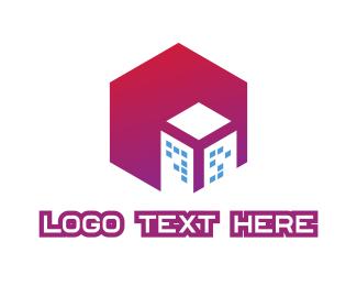 Thermal - Gradient Polygon Building logo design