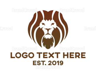 Wildlife - Brown Hair Lion logo design