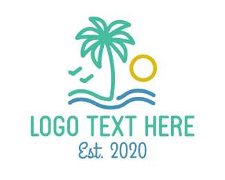 Minimalist Palm Tree Resort Logo