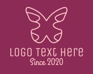 Minimalist Pink Butterfly Logo