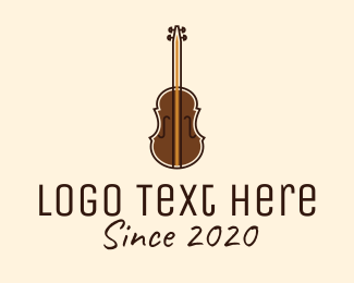 Brass Instrument - Brown Violin Music Shool logo design