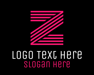 Team Emblem - Striped Pink Letter Z logo design