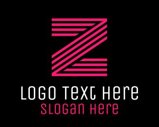 Uppercase - Striped Pink Letter Z logo design