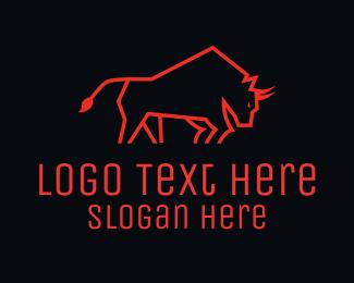 Stock Market - Minimalist Red Bull logo design