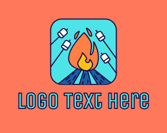 Camping Site - Camp Fire Marshmallow logo design