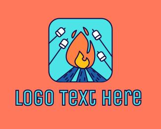 Woodfire - Camp Fire Marshmallow logo design