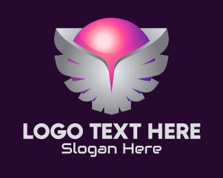 Online Game - 3D Wings Sphere logo design