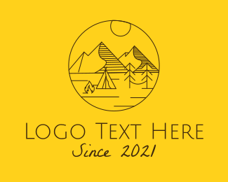 Recreational Vehicle - Campsite Mountain Outdoors logo design