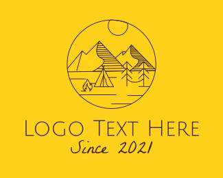 Tourist Destination - Campsite Mountain Outdoors logo design