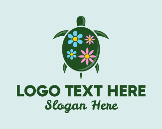 Turtle Shell - Floral Green Turtle logo design