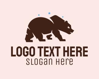Teddy - Brown Grizzly Bear  logo design