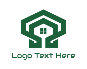 Shell - Green Hexagon Shell House logo design