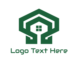 Structure - Green Hexagon Shell House logo design