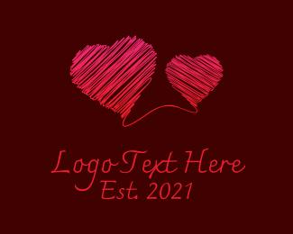Hearts - Red Scribble Hearts logo design