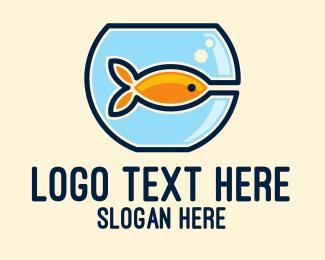 Illustration - Pet Goldfish Bowl logo design