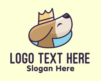 Puppy - King Puppy Dog Crown logo design