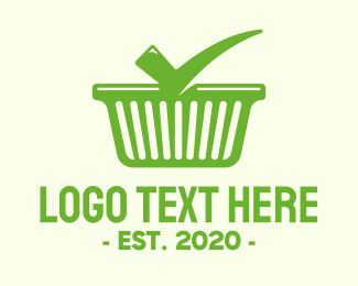 Check Mark - Green Check Shopping Basket logo design