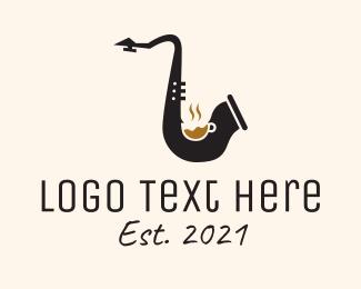 Saxophonist - Music Saxophone Cafe logo design