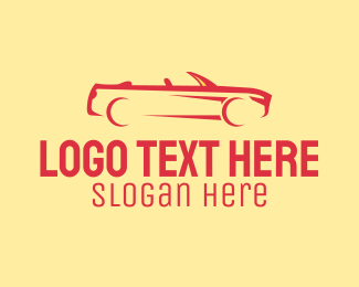 Car Racing - Red Convertible Sports Car logo design