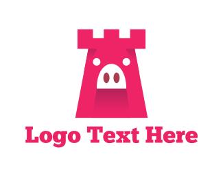 Pork - Pig Castle Tower logo design