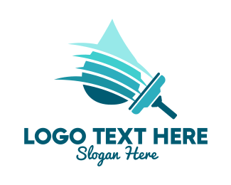 Window Cleaner - Clean Water Squeegee logo design