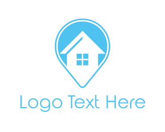 Real Estate - Blue House Locator logo design