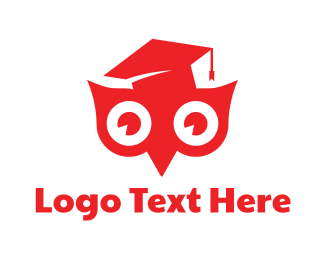 Study - Red Smart Owl logo design