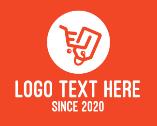 Orange Shopping Cart Tag Logo