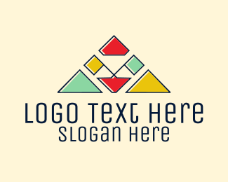 School - Colorful Camp Flags logo design