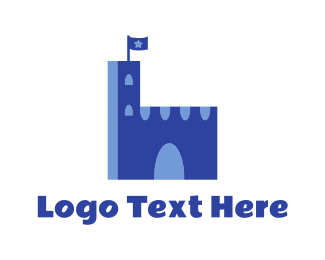 Palace - Blue Medieval Palace logo design