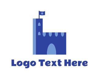 Medieval - Blue Medieval Palace logo design