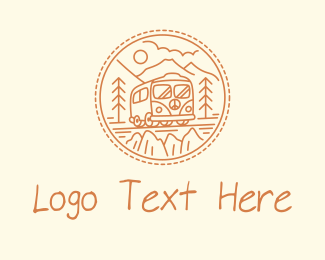 70s - Hippie Van Road Trip  logo design
