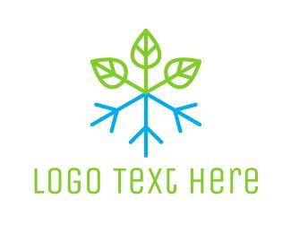 Snowflake - Snow Plant logo design