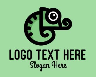 Tongue - Cute Green Chameleon logo design
