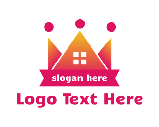Pink House - Pink Crown House logo design