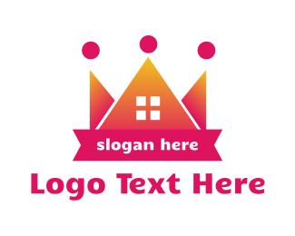 Queen - Pink Crown House logo design
