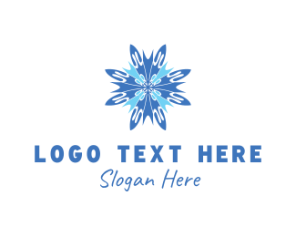Blue Ice Cream - Blue Snowflake logo design