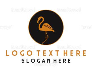 Dark - Gold Flamingo logo design